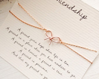 Friendship, friendship bracelet, bow bracelet, rosegold bow bracelet, best friend bracelet, best friend jewelry, friendship quote bracelet