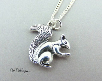 Silver Squirrel Necklace, Silver Squirrel Pendant, Squirrel Charm Necklace, Silver Charm Necklace, Silver Necklace, Trendy Necklace