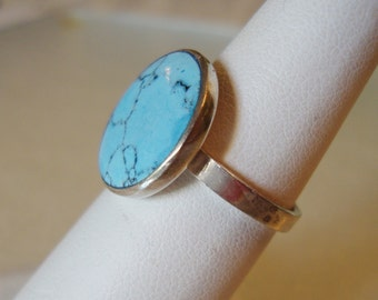 Sterling Silver 925 Stamped, Spider Web Turquoise Stone Ladies Ring, Size 6.5.