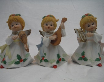 1970's - Set of 3 Homco Angel Figurine - Antique, Vintage,Collectible,Decorum