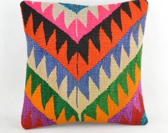 Kilim pillow K20 16x16inc, kilim pillow cover, home decor, decorative throw pillow