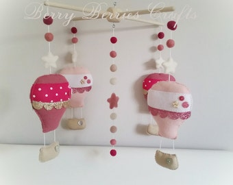 SALE Hot Air Balloon Baby Mobile, Nursery Decor, Baby Girl Gift, Pink Theme Nursery, Baby Mobile, Crib Mobile, Baby Shower Gift, Pink, Gold