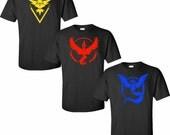 Pokemon Go Team Instinct Gym Pokeball Tee shirt Tank Top Mens Womens Children Kids Teen Iron-on DIY Tshirt