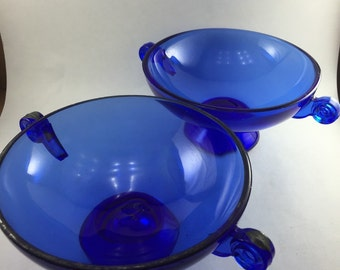 Cobalt Art Deco Candy Dishes  2pc