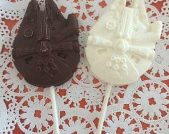 STAR WARS Millennium Falcon Battleship Chocolate Lollipop(12 qty)-Star Wars Party/Boys Birthday Party/Spacecraft/Outer Space Party/Spaceman