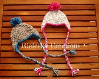 Crochet Pdf Pattern- Earflap hat- Crochet pom pom hat - 9 sizes