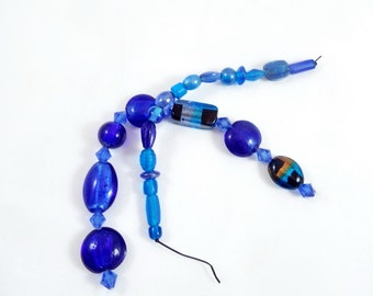 Dark Blue Lampwork Beads and Blue Glass Beads