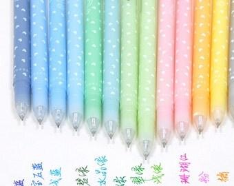 Colorful Gel Pen 12 Piece Set / Kawaii Fine Point Pens / Kawaii Gel Pens / Gel Ink Pens / Cute Pens / Kawaii Pens / Kawaii Korean Stationery