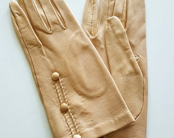 Vintage Beige Leather Gloves
