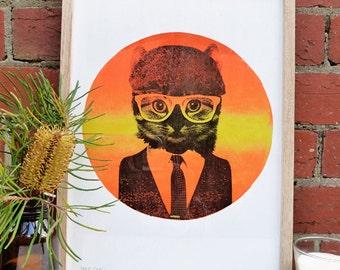 Hand screen printed 'Hot Cat' (A3) art print