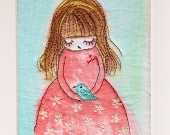 Little princess with her blue bird free embroidery  girl room decorations nursery wall art personalised