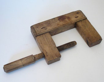 Antique French wood C-Clamp