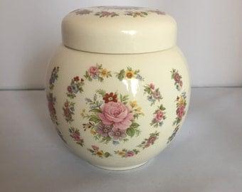 Vintage Retro 1960s 60s Sadler pretty floral print ginger jar tea caddy vase