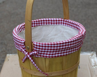 Bushel Style Basket with Red and White Gingham Lining