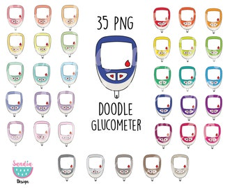 35 Doodle Glucometer Clipart. Personal and comercial use.