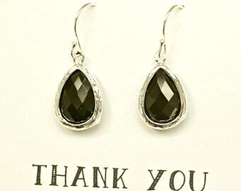 Black Earrings for Bridesmaids, Black Bridesmaid Jewelry, Dark Jewelry, Black Wedding Earrings, Black Jewelry, Black Silver earrings, ES1