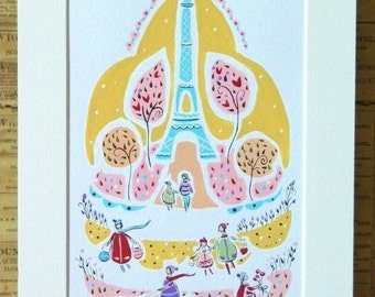 Paris painting mounted,watercolour,gouache painting,French,whimsical art