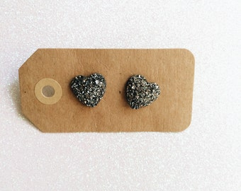 Sparkly Grey/Black Heart Earrings