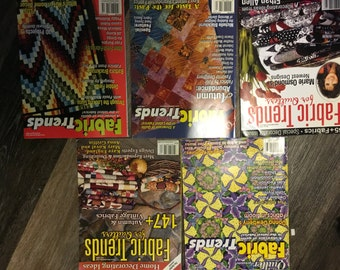 5 Fabric Trends for Quilters Magazines - 2004, July/August 2005, Fall 2005, Fall 2008, Winter 2008