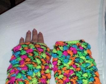 Blacklight Crocodile Stitch Fingerless Gloves