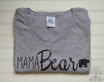 Mama Bear T-shirt - ladies V-neck