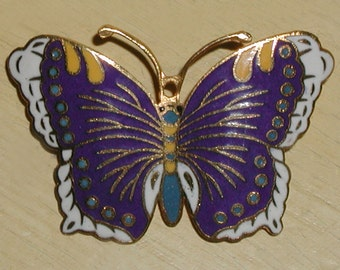 Lovely Vintage Cloisonne Indigo Blue, Saffron Yellow, Teal & White Enamel on Brass ButterflyBrooch Pin