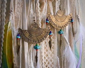 Ethnic earrings, boho turquoise earrings, hippie earrings, gypsy earrings, big rustic earrings, tribal earrings, Antique style earrings