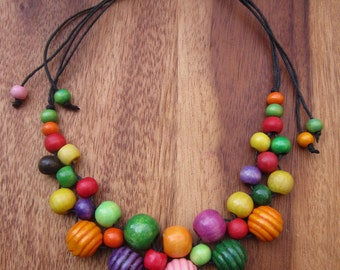 Wooden Beads Necklace Wooden Jewellery Colourful Jewellery Birthday Gift For Her Gift For Women