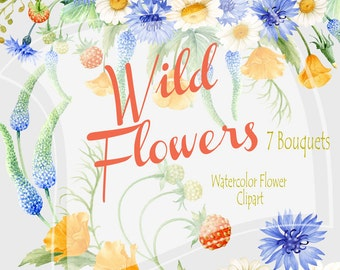 Wild Flowers Watercolor Clipart Collection, Watercolor Bouquets,  Wedding invitations, Cornflower & Chamomiles, DIY Clip Art, Greeting card
