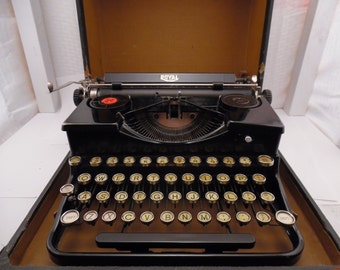 1934 Royal Deluxe Typewriter- Model O - Touch Control- Portable Standard -with original carrying case