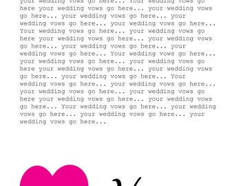 Printable, customisable His and hers wedding vows wall art