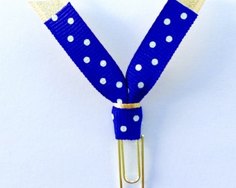 Planner Paper Clips : Gold and Navy Glitter Ribbon Planner Paperclips