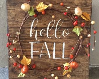 Rustic Fall Wood Pallet Sign w/ berry pumpkin garland, fall decor, fall home decor, fall decoration, fall sign, hello fall