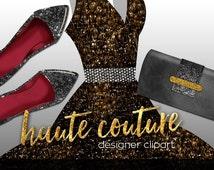 25% OFF!!Fashion Digital Clipart:Little Black Dress,Shoes,Heels,Accessories//Haute Couture, Designer Clipart//Black Gold Floral Glitter