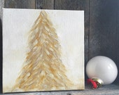 6x6 inch Gold and White Christmas Tree Original Oil Painting