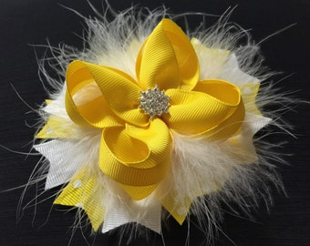 Yellow and White Stacked Boutique Hair Bows , Baby Girl Headband ,Stacked Boutique Hair Bow , Baby Girl Hair Bow, Girls Hair Bow