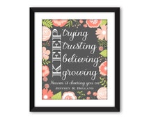 Heaven is cheering you on,  DIGITAL DOWNLOAD, Jeffrey R. Holland quote, Keep Trying Keep Trusting, lds quote, lds art, lds printable