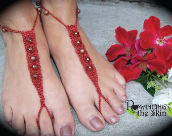 Handmade Bronze & Red on Red Crocheted Barefoot Sandals/Foot Jewelry/Bling for Feet/Tantalizing Tootsie Travelers
