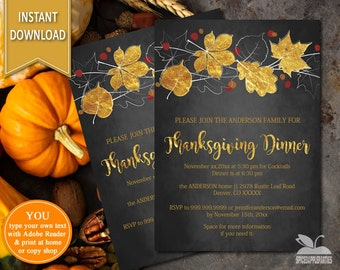 Fall Invitation, Company Dinner Party, dinner Party, Thanksgiving Dinner, Company Party, Chalkboard, Company Invitation, Thanksgiving Invite