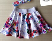 Girls 'Fiona' Twirly Skirt and Headband Set with Glitter Elastic Waist, Boo! Skater Skirt, Toddler Girl's Skirt -Size 2 girls clothes