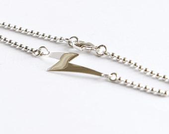 Sterling silver lightning bolt bracelet, Silver bracelet, Handmade bracelet, Ziggy stardust