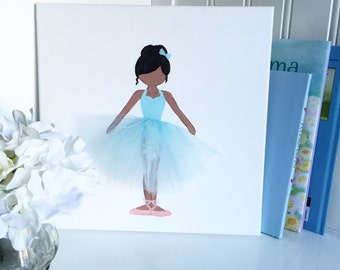 Ballerina decor, Ballerina Art, Nursery Ballerina Art, Hand Painted Canvas, Baby Shower (TiffanyBlue Tutu Ballerina Wall Art Tutu Ballerina