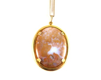 "Vintage Large Landscape Agate Chalcedony Orangish Brown and White Oval Cabochon Pendant Set In Gold Tone Metal 18"" Necklace Boho"