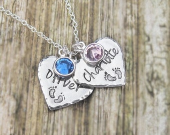 Personalized heart necklace, silver chain, swarovski birthstone, silver name jewelry, baby feet necklace, mommy jewelry, new mom necklace