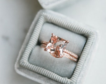 Princess Cut Morganite Diamond, Halo Engagement Ring, Wedding set, Morganite Wedding set, Diamond, Rose Gold, Halo Diamond