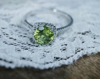 August Birthstone Ring Peridot Green Birthstone Sterling Silver Ring, Birthstone Rings