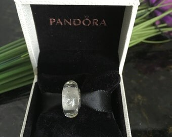 Pandora Clear Effervescence Sterling Silver Murano Glass Bead  # 791617CZ