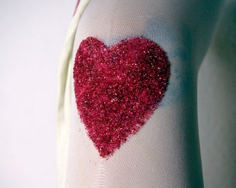 Sweetheart glitter tights red edition size M