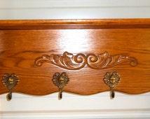 Vintage Antique Victorian Coat Rack Shelf 4 angel hooks