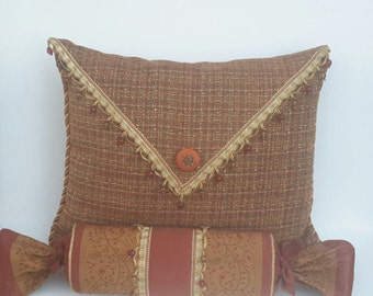 Rust Pillows, Large Pillows, Designer Pillows, Standard Size Bed Pillow, Size - 25 in x 20 in